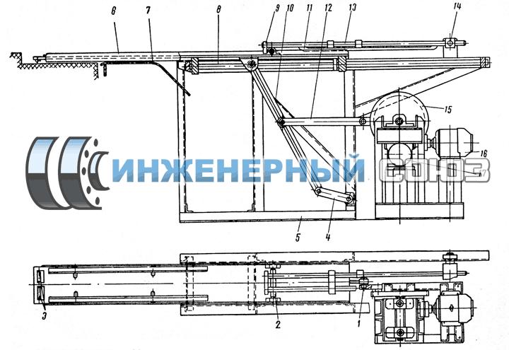 Рис. 4. Механизм загрузки и выгрузки листовых заготовок. Поточное производство штампованых заготовок фланцев, заглушек, колец.
